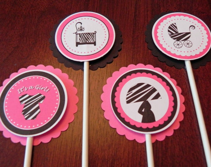 Cupcake Toppers: Pink & Black Zebra Print - Girl Baby Shower Decorations