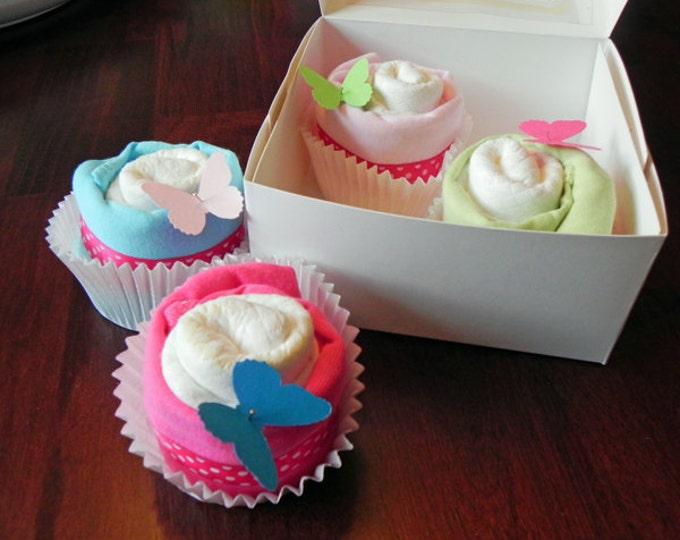 Diaper & Bodysuit Cupcake Gift Set - Cute Unique Baby Shower Gift girl boy neutral