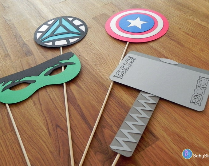 Photo Props: The Marvel Avengers Super Hero Set (4 Pieces) - party wedding birthday mask pow thor hulk america ironman avengers centerpiece