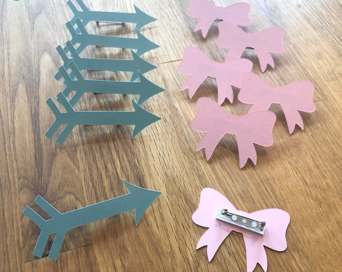 Party Pins: Bows or Arrows Gender Reveal Baby Shower - Die Cut Pink Girl Bows & Blue Arrows game vote