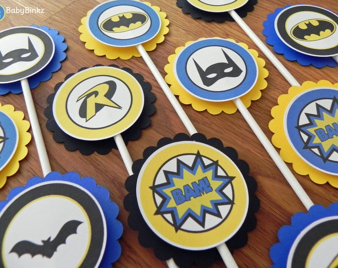 Batman & Robin Cupcake Toppers - super hero batman robin comic birthday party decorations blue black yellow superhero