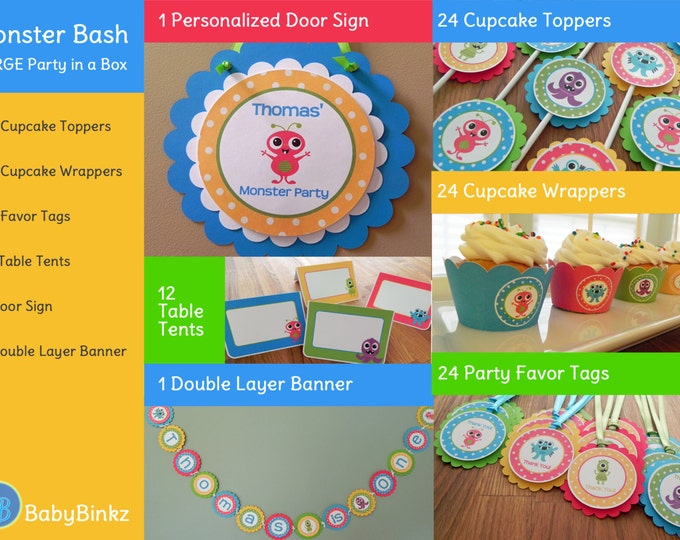 Monster Bash Large Party in a Box - Cute Monster Party Decorations Party Package Set blue green red yellow primary colors