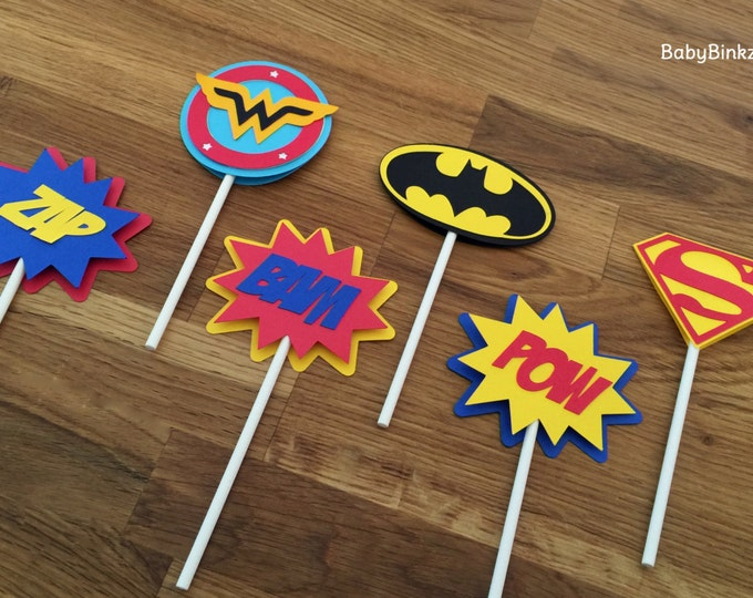 Die Cut Justice League Super Hero Cupcake Toppers - dc comics inspired superman batman wonder woman birthday party decorations wedding