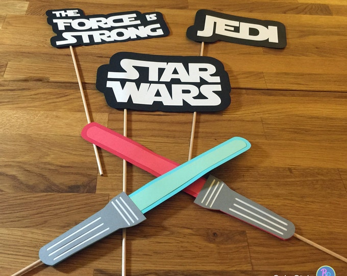 Photo Props: The Star Wars Phrase Set (5 Pieces) - party wedding birthday jedi force light saber lightsaber centerpiece awakens