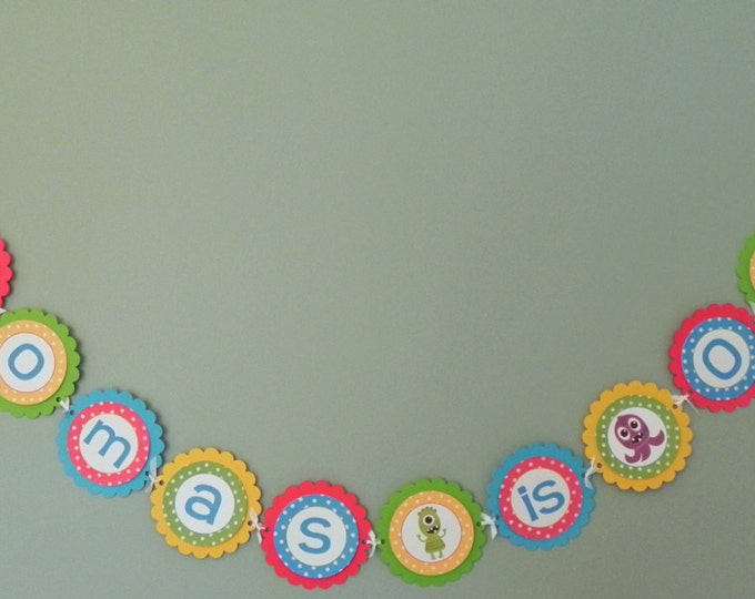 Monster Bash Party Banner - Cute Monster Party Decorations baby shower birthday party blue green yellow red primary colors