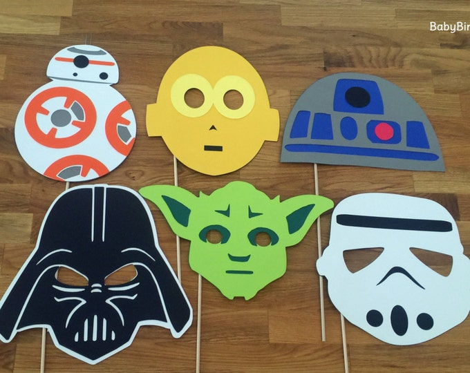 Photo Props: The Star Wars Set (6 Pieces) - party wedding birthday jedi force decoration yoda darth vader bb-8 centerpiece awakens