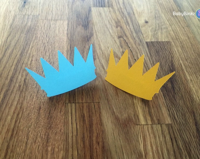 Party Pins: Little Prince Baby Shower - Die Cut Blue and Gold Boy Crowns vote game royalty birthday party