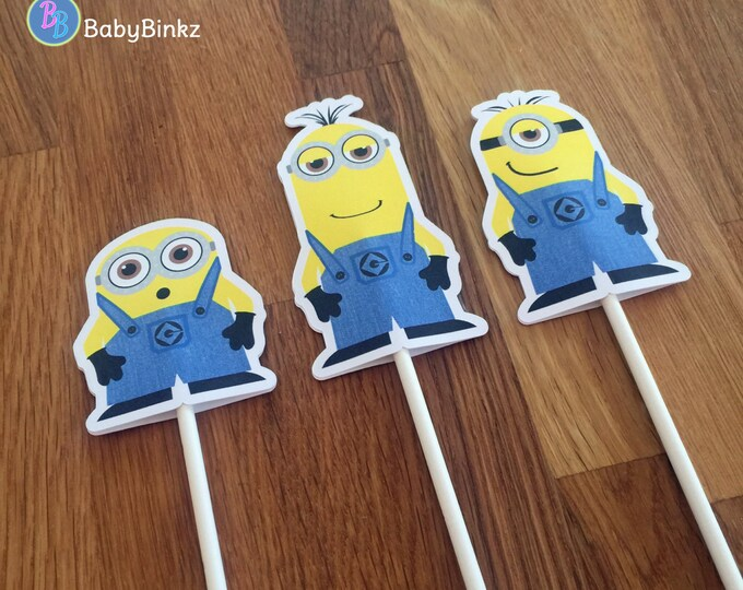 Minion Cupcake Toppers: Trio Stuart Kevin Bob inspired despicable me birthday party decoration halloween centerpiece cake