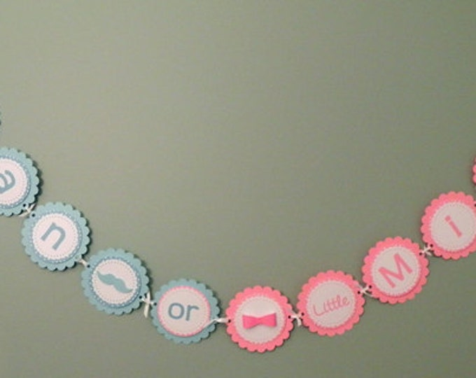 Gender Reveal Party Banner - Little Man or Little Miss Party Decorations die cut bow mustache blue pink photo prop
