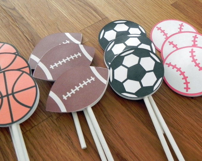 Cupcake Toppers: All Star Sports Shapes Baby Shower or Birthday Party - die cut basketball football baseball soccer