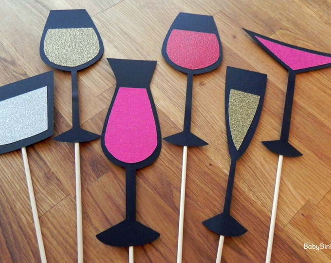 Photo Props: The Glitter Cocktail Set (6 Pieces) - party wedding engagement bachelorette girl's night die cut martini wine champagne stick
