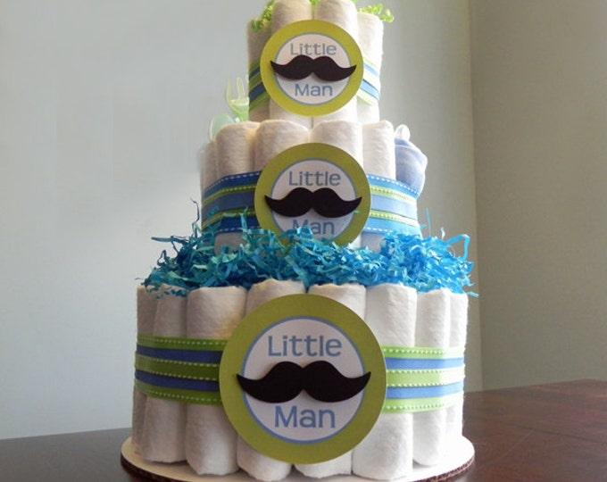 Little Man Mustache Diaper Cake  - Three Tier Baby Shower Gift or Centerpiece boy green blue black