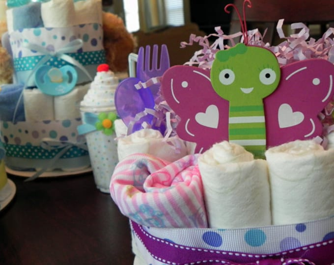 Butterfly Diaper Cake - One Tier Baby Shower Gift or Centerpiece - cute purple pink green girl