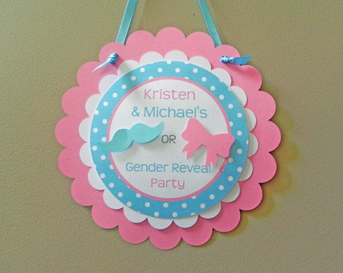 Gender Reveal Door Sign - Little Man or Little Miss Decorations package set die cut bow mustache blue pink photo prop pin game