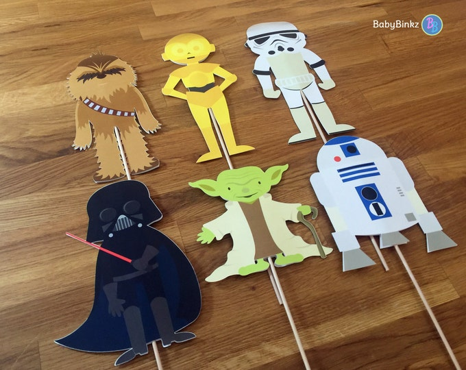 Photo Props: The Classic Star Wars Set (6 Pieces) - party wedding birthday jedi force Yoda Darth Vader R2D2 CP3O Darth Vader centerpiece