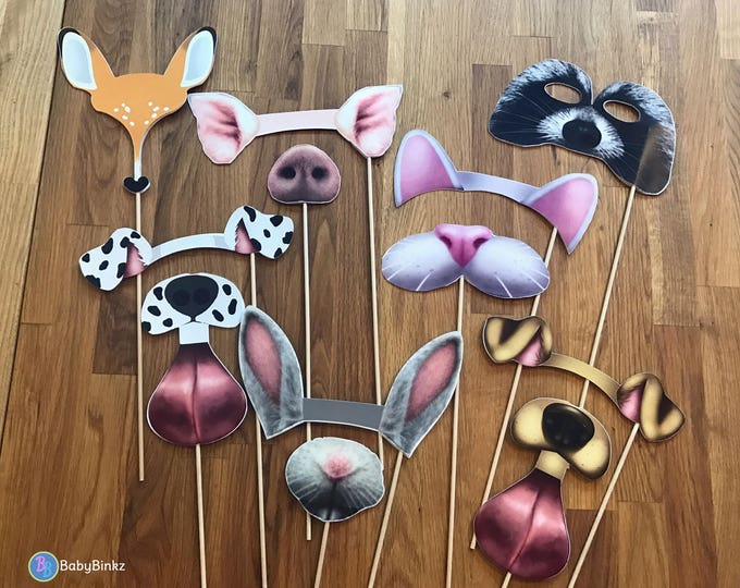 Photo Props: Snapchat Animal Filter Inspired 12 Pcs Set - party wedding birthday engagement twitter instagram app icon stick snap chat
