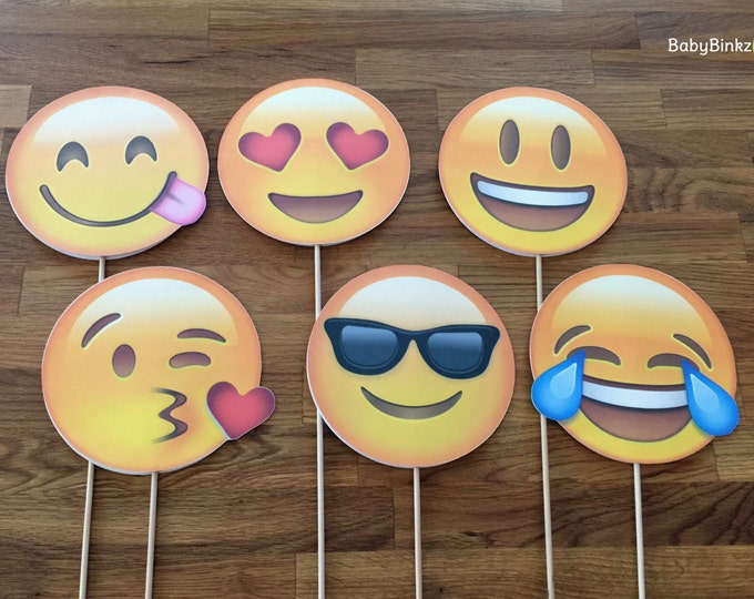 Photo Props: The Emoji Set (6 Pieces) - party wedding birthday decoration instagram social media iPhone app icon stick centerpiece
