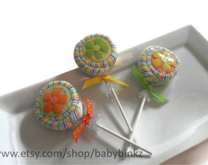 3 x Washcloth Lollipops - Unique Baby Gifts & Favors boy girl neutral infant washcloth