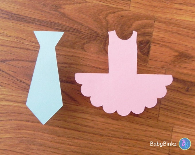Party Pins: Ties or Tutus Gender Reveal Baby Shower - Die Cut Pink Girl Ballet Tutus & Blue Boy Ties vote