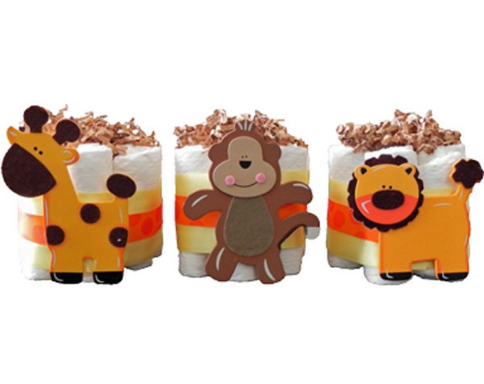 Mini Diaper Cake Jungle Trio - baby shower, neutral, monkey, giraffe, lion