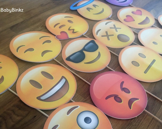Photo Props: The Large Emoji Set (14 Pieces) - party wedding birthday decoration instagram social media iPhone app icon stick centerpiece