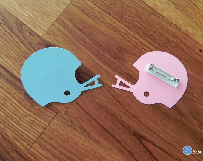 Party Pins: Team Blue vs Team Pink Football Helmet Gender Reveal Baby Shower - Die Cut Pink Girl Blue Boy Football helmet vote