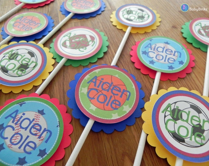 Cupcake Toppers: Personalized All Star Sports Shapes Baby Shower or Kids Birthday Party Decorations football soccer baseball basketball
