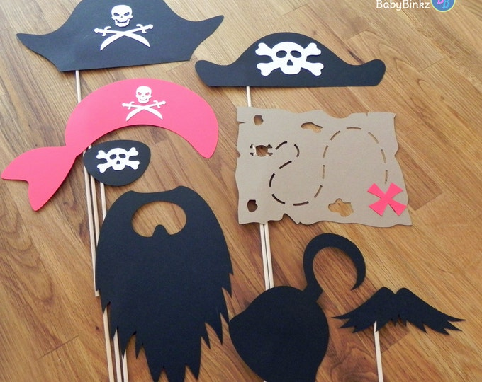 Photo Props: The Pirate Set (8 Pieces) - party wedding birthday engagement pirate treasure hook beard map mustache patch skull