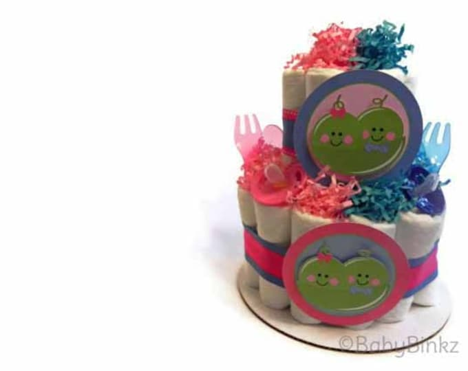 Twin Peas in a Pod Diaper Cake - Two Tier  Baby Shower gift or centerpiece girls boys neutral pink blue green yellow