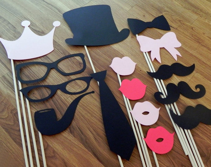 Photo Props: The Master Set (15 Pieces) - party wedding engagement birthday die cut mustache top hat bow tie pipe lips crown stick