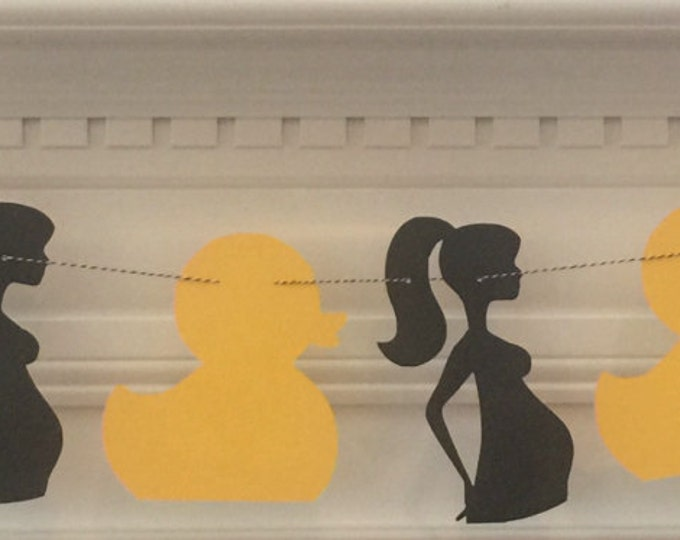 Party Garland: Duck & Mom-to-Be Silhouette - gender neutral baby shower die cut yellow black modern