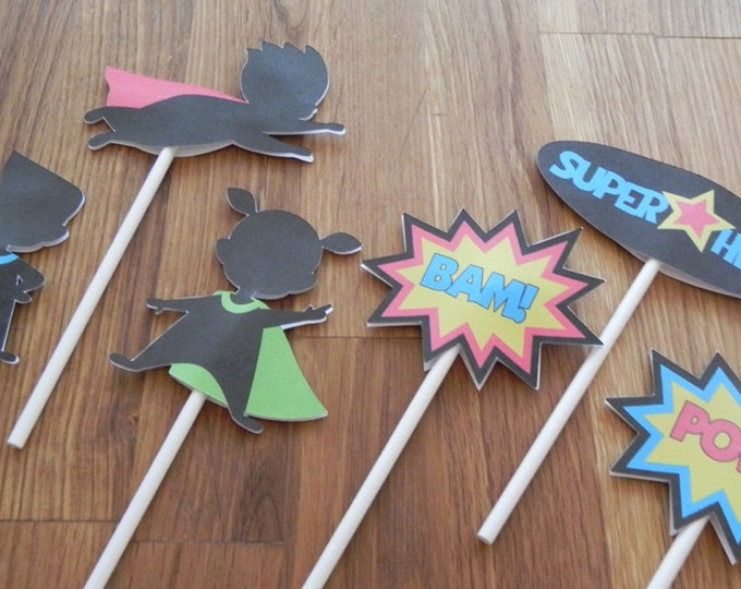Cupcake Toppers: Cute Die Cut SuperHero Cupcake Toppers - Baby Shower or Kids Birthday Party Decorations super hero