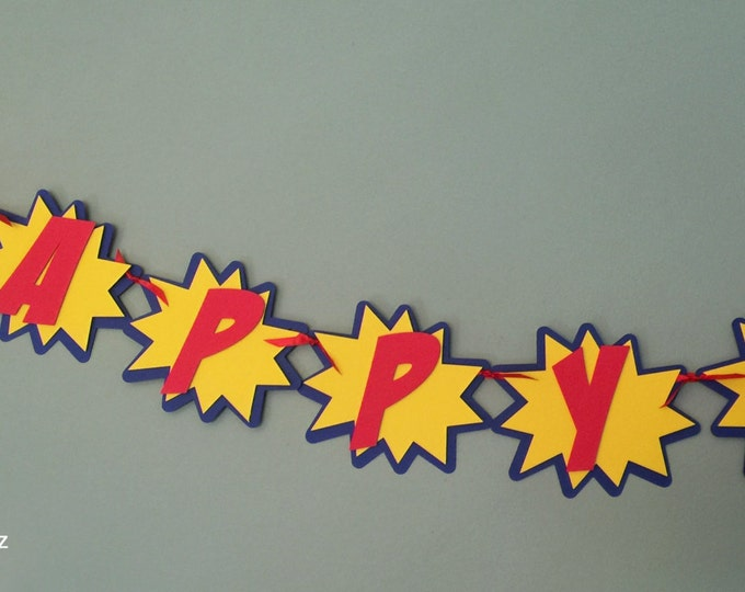 Super Hero Comic Burst Banner - Superman Captain America Batman Happy Birthday red blue yellow comic die cut custom superhero inspired