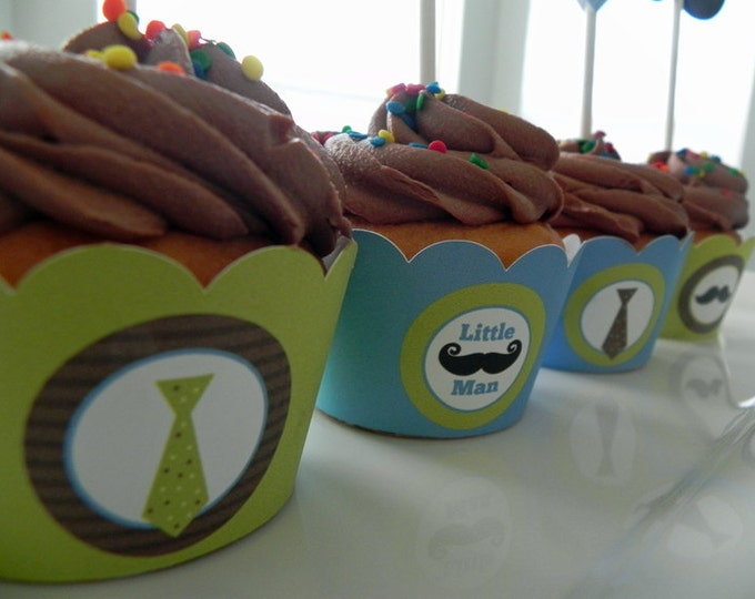 Cupcake Wrappers: Little Man Mustaches and Ties in Blue Green & Brown - Boy Baby Shower or Kids Birthday Party Decorations
