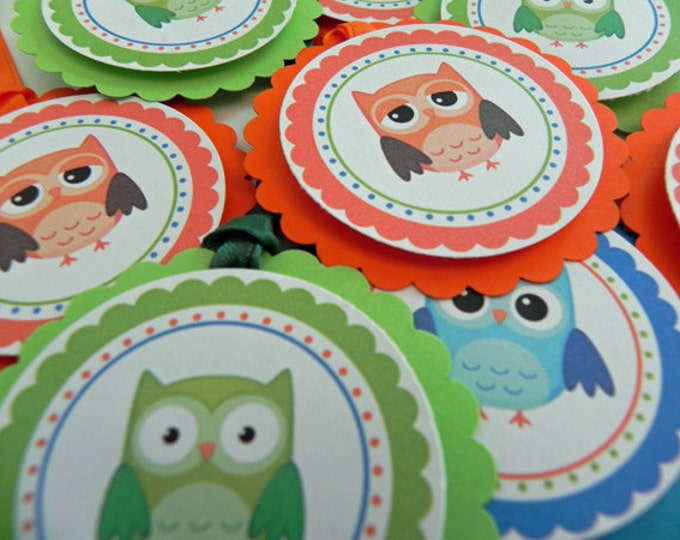Party Favor Gift Tags Boy Owls - Orange, Blue & Green Party and Baby Shower Decorations