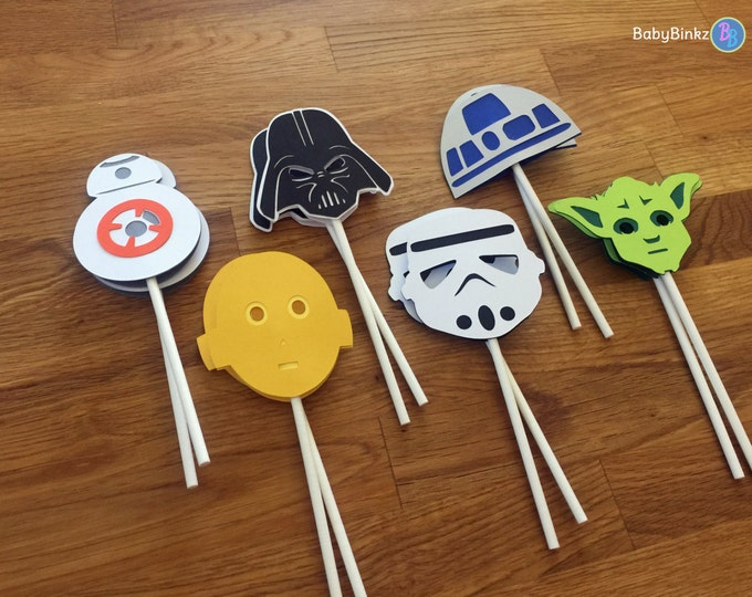 Cupcake Toppers: The Star Wars Set - party wedding birthday jedi force BB8 R2D2 CP3O yoda darth vader storm trooper awakens