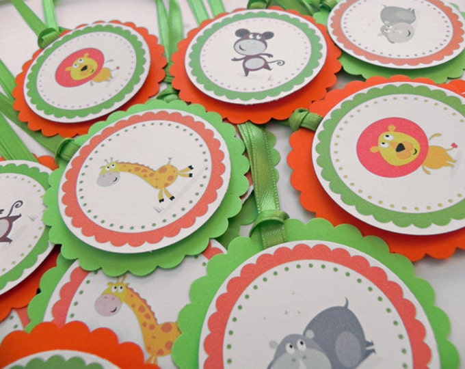 Party Favor Gift Tags Jungle Animals - Orange & Green Party and Baby Shower Decorations