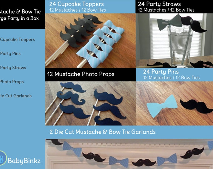 Mustache & Bow Tie Party in a Box - Little Man Mustache Bow Tie Decorations Party Package Set die cut bow tie mustache blue black