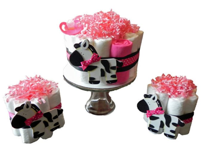Diaper Cake Party Pack - Pink Zebra - baby shower gift decoration baby girl jungle white black pink