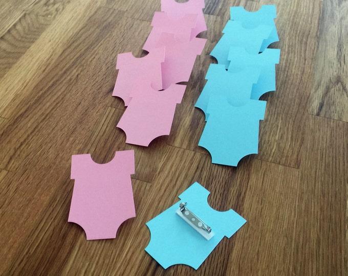Party Pins: Girl or Boy Gender Reveal Baby Shower - Die Cut Pink Blue Bodysuit vote