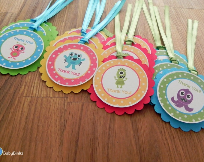 Favor Tags: Cute Monster Bash Party Favor Tags - Baby Shower or Kids Birthday Party Decorations blue red yellow green primary colors