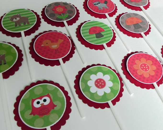 Cupcake Toppers: Cute Woodland Animals and Flowers - Baby Shower or Kids Birthday Party Decorations