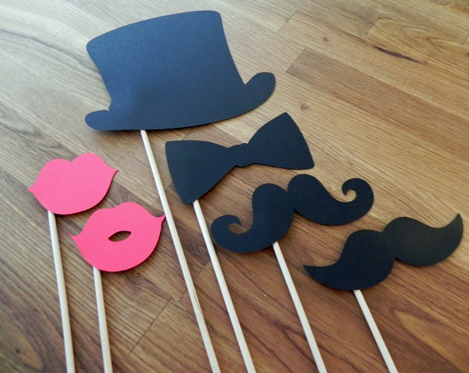 Photo Props: The Sophisticated Set (6 Pieces) - party wedding engagement birthday die cut mustache top hat bow tie lips stick
