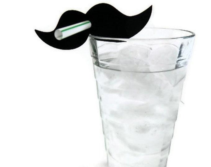 Mustache Straws - Die Cut Mustache (10) - photo prop party decoration punch cutout card stock
