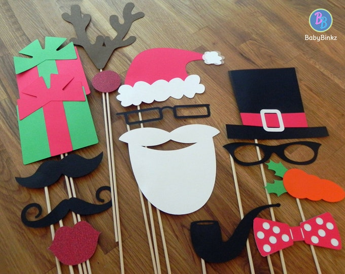 Photo Props: The Christmas Set (15 Pieces) - party wedding engagement holiday cards christmas die cut mustache top hat bow tie pipe stick