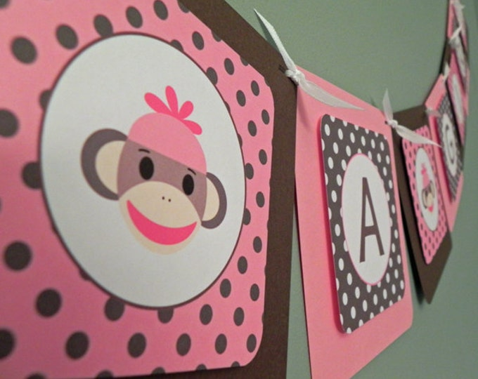 Baby Shower Banner: Pink & Brown Sock Monkey - It's a Girl Baby Shower Decoration
