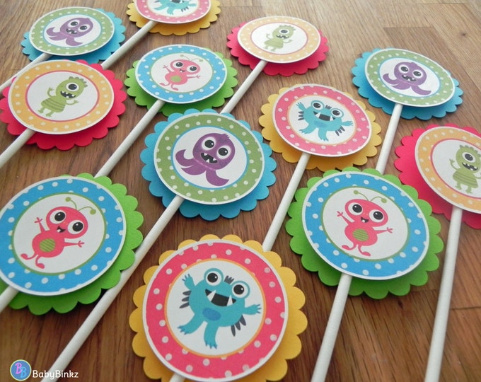 Cupcake Toppers: Cute Monster Bash - Baby Shower or Kids Birthday Party Decorations red blue green yellow primary colors
