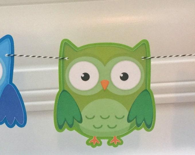Party Banner: Die Cut Boy Owls in Blue, Green & Orange - Baby Shower Birthday Party Decorations Garland Photo Prop