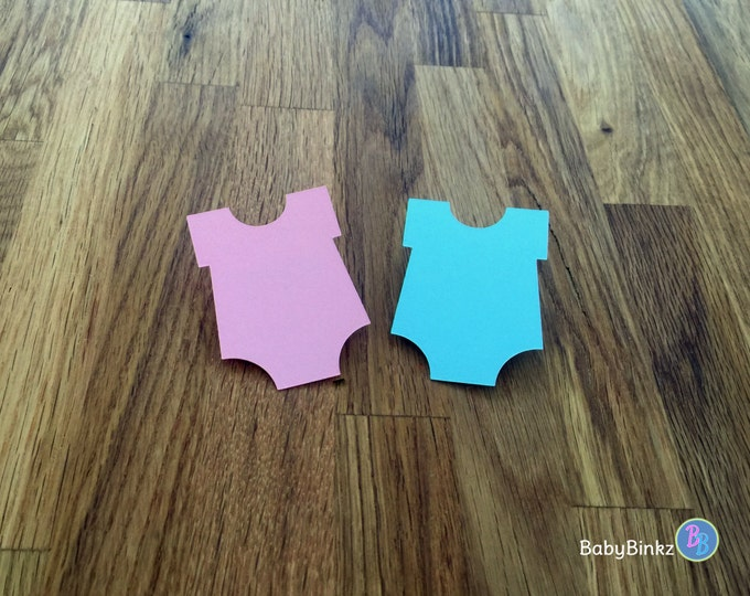 Party Pins: Girl or Boy Gender Reveal Baby Shower - Die Cut Pink Blue Bodysuit vote