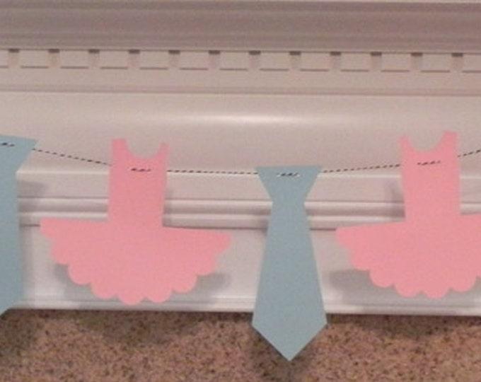 Party Banner: Blue Ties and Pink Tutu Garland - gender reveal baby shower wedding engagement - die cut tutu neck bow tie